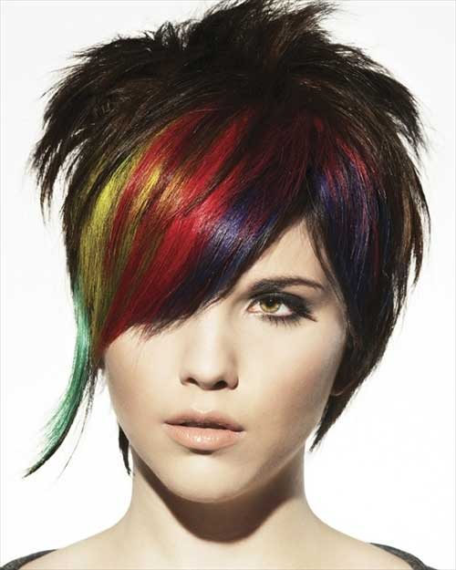 Colorful-Punky-Short-Haircut-for-Girls Best Punky Short Haircuts