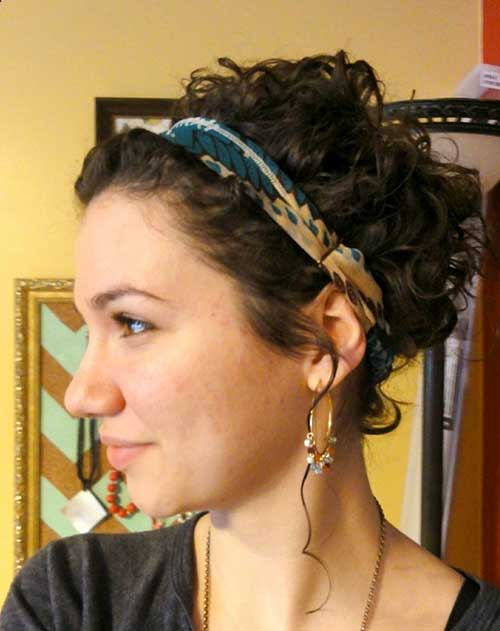 Curly-Hair's-Updo-with-Headband Short and Curly Hairstyles 2019