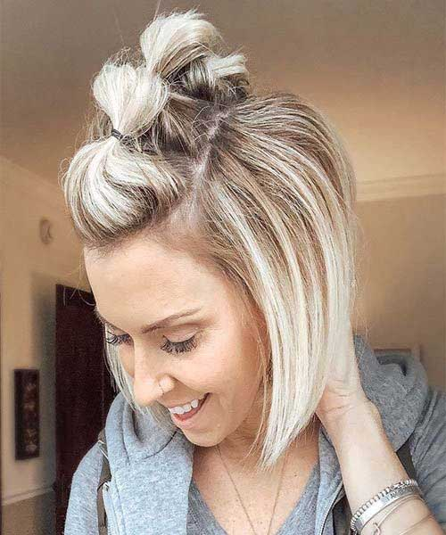 Cute-Blonde-Bob-Updo Latest Trend Hair Color Ideas for Short Hair