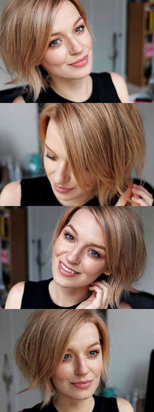 Cute-Style-and-Color Short Haircuts for Round Face Shape