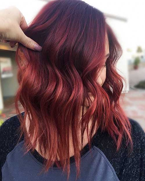 Dark-Red-Bob-and-Choppy-Layers Eye-Catching Short Red Hair Ideas to Try