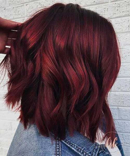 Dark-Red-Hairstyle Latest Trend Hair Color Ideas for Short Hair