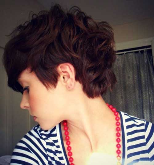 Dark-Red-Short-Curly-Layered-Pixie-Haircut Best Short Layered Curly Hair