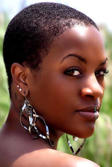Extremely-Short-Dark-Simple-Hair Short Hairstyles for Black Women
