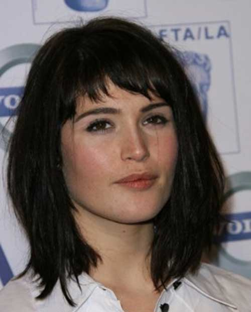 Gemma-Arterton-Dark-Medium-Length-Hair-with-Bangs Short Medium Hairstyles 2019