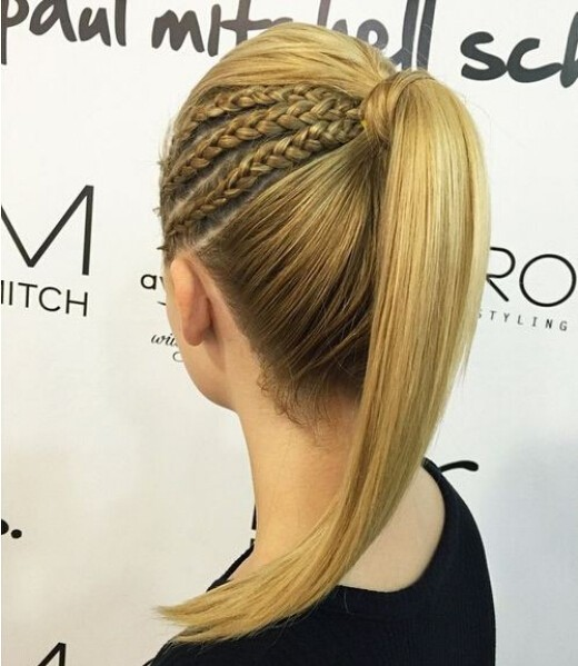 High-Ponytail-with-Braids Cute French Braid Hairstyles for Girls