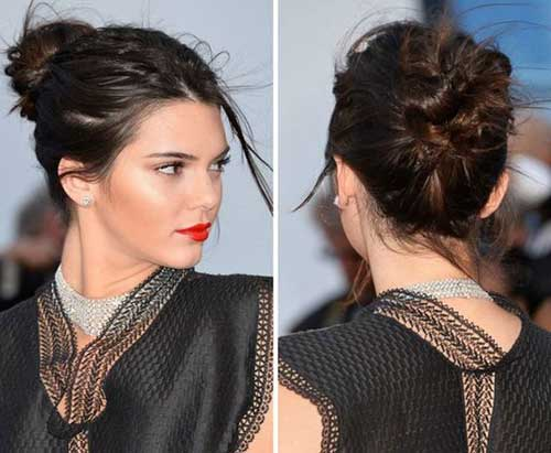 Messy-Updo-Hairstyle Kendall Jenner Short Hair Pics