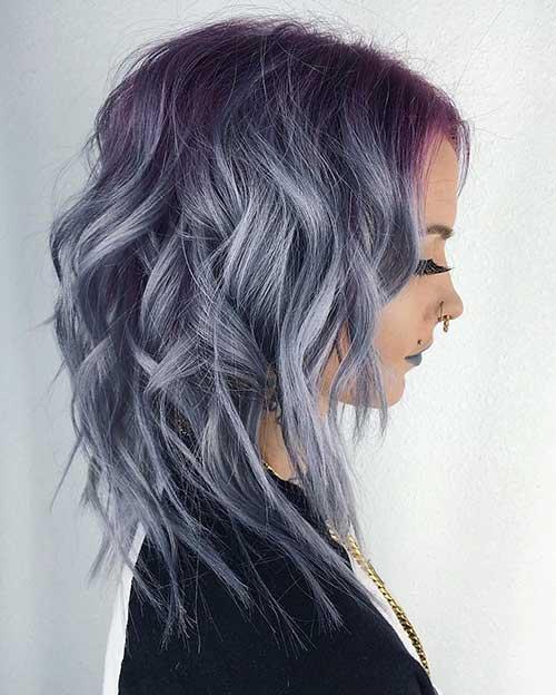 Mettalic-Shag-Lob Alluring Short Curly Hair Ideas for Summertime