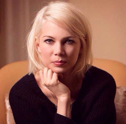 Michelle-Williams-Blonde-Hair Short Haircuts for Round Face Shape