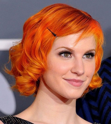 Orange-Colored-Curly-Bob-Haircut Short Haircuts and Color Ideas
