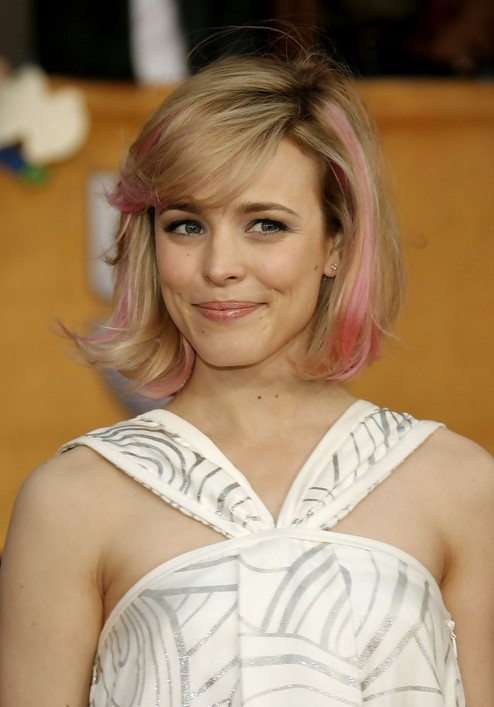 Rachel-McAdams-Short-Pink-Blonde-Bob-Hairstyle-with-Bangs Popular Short Hairstyles for Women 2019
