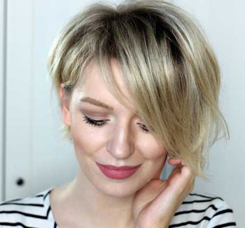 Short-Blonde-Assymetrical-Haircut Short Haircuts for Round Face Shape
