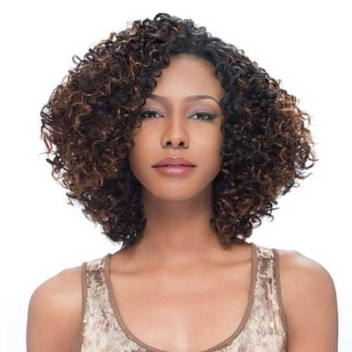 Short-Brown-Hair-Curly-Weaves-for-Women Beautiful Short Curly Weave Hairstyles 2019