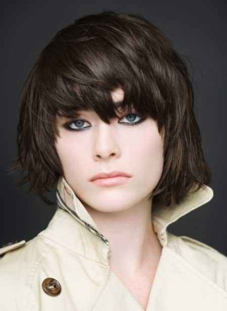 Short-Dark-Rebellious-Hair Short Trendy Hairstyles for Women