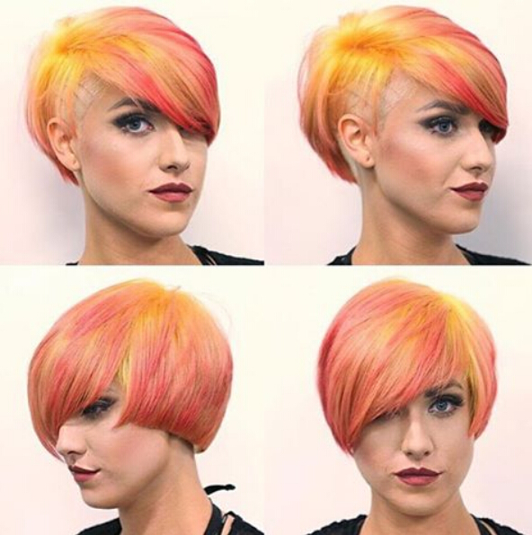 Short-Layered-Hairstyle-for-Rainbow-Hair Awesome Undercut Hairstyles for Girls