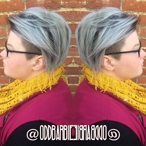 Short-Shaved-Hairstyle-for-Grey-Hair Awesome Undercut Hairstyles for Girls