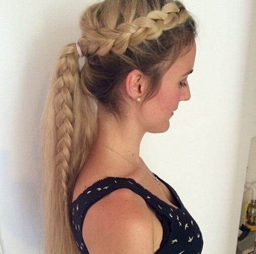 Side-French-Braid-Ponytail Cute French Braid Hairstyles for Girls