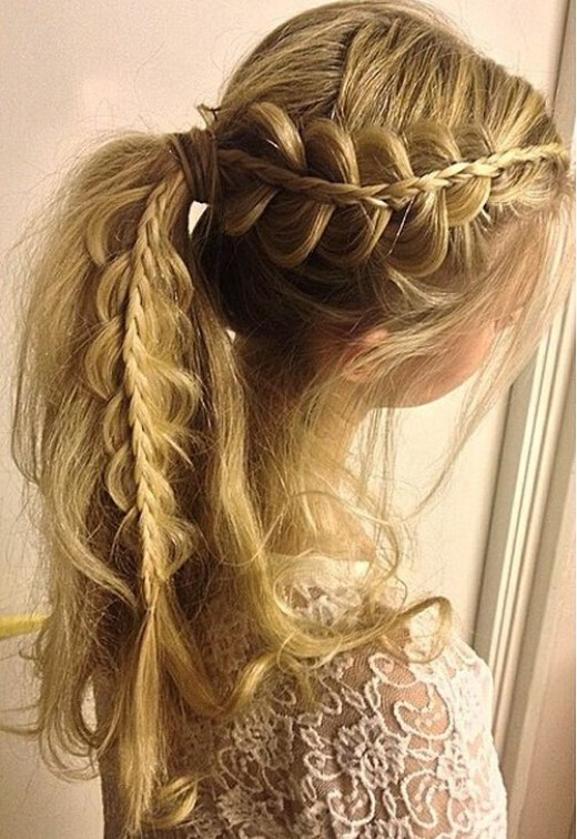Side-Lacey-Braid-Ponytail-Hairstyle Cute French Braid Hairstyles for Girls