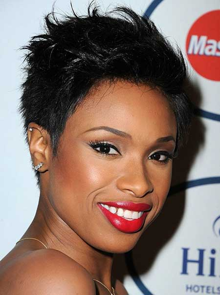 Spiked-Short-Dark-Hair Short Hairstyles for Black Women