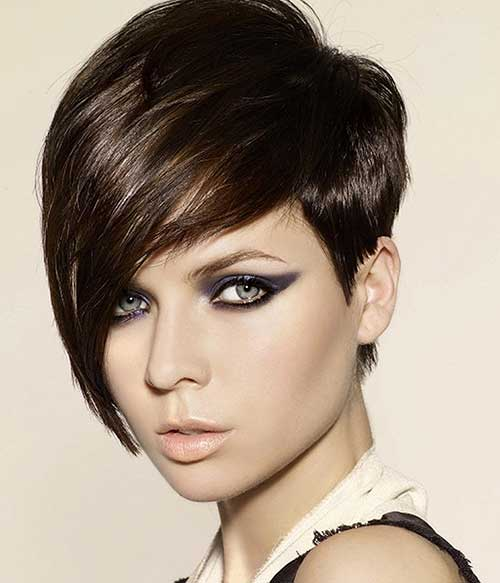 Straight-Brown-Long-Nice-Pixie Best Short Brown Haircuts 2019