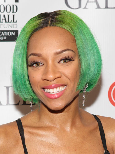 Straight-Side-Parted-Green-Colored-Hair Short Haircuts and Color Ideas