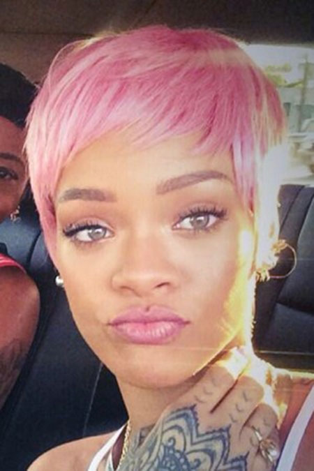 Super-Short-Pink-Colored-Haircut Short Haircuts and Color Ideas
