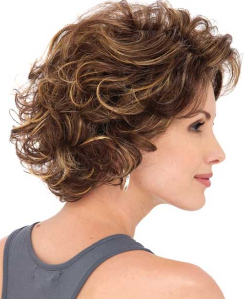 Vogue-Layered-Bob-with-Thin-Bangs-Curly-Hairstyle Short and Curly Hairstyles 2019