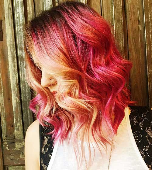 Wavy-Lob-Hairstyle Eye-Catching Short Red Hair Ideas to Try