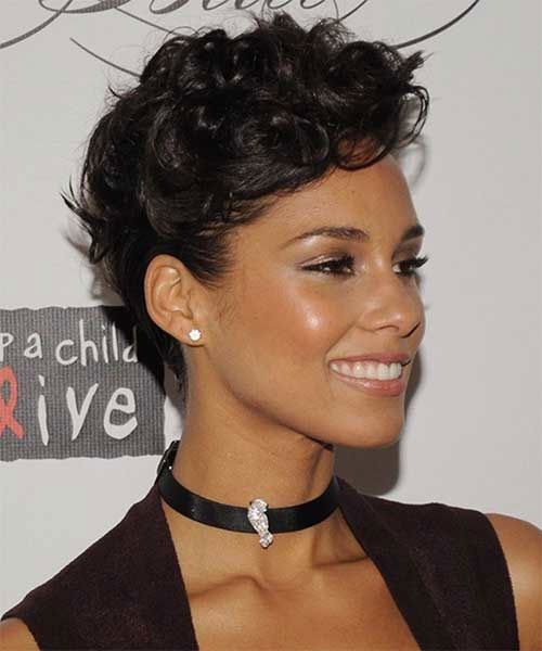 Alicia-Keys-New-Hair Very Short Curly Hairstyles for Smart Ladies