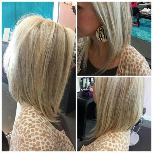 Angled-Bob-Haircut-for-Blond-Hair Daily Medium Hairstyles for Women 2019