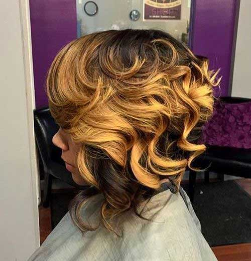 Black-Women-Curly-Bob Best Short Curly Weave Hairstyles