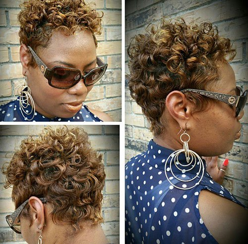 Caramel-Curls Trendy African American Pixie Haircuts for Short Hair – Straight, Curls
