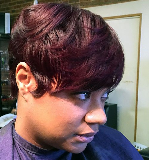 Cherry-Red Trendy African American Pixie Haircuts for Short Hair – Straight, Curls