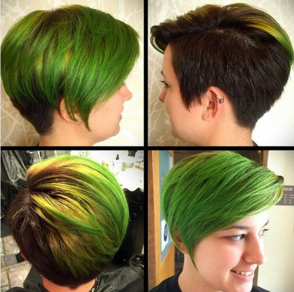 Edgy-Colored-Short-Hairstyle Beautiful Short Hairstyles for Round Faces 2019