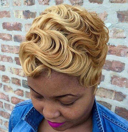 Flapper-Girl Trendy African American Pixie Haircuts for Short Hair – Straight, Curls