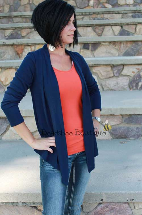 Inverted-Short-Casual-Dark-Hairstyle Casual Short Haircuts