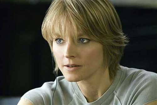 Jodie-Foster's-Short-Hair-with-Bangs Female Celebrity Short Haircuts 2015