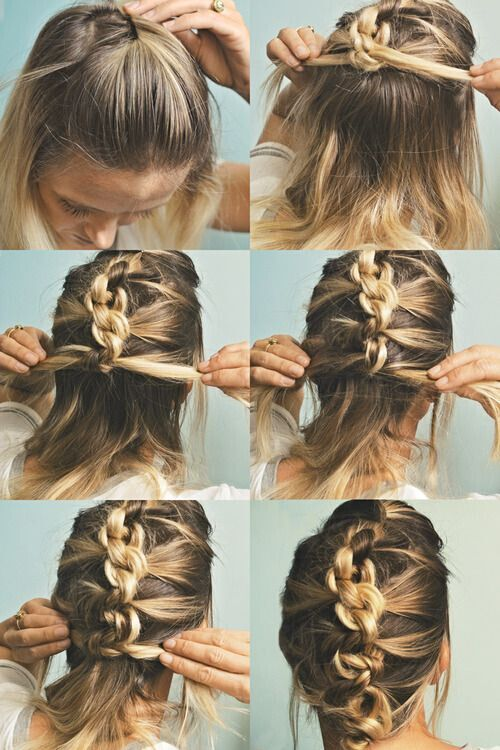 Knotted-French-Braid-Updo-for-Mid-Length-Hair Wonderful Medium Hairstyles for 2019