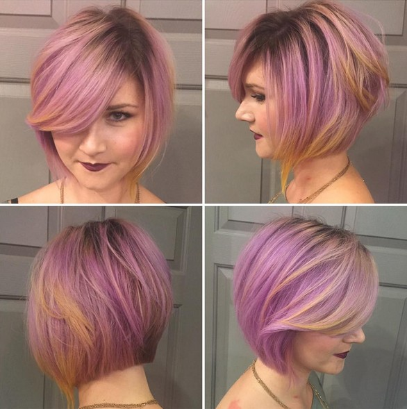 Pink-Purple-Colored-Bob-Hairstyle Beautiful Short Hairstyles for Round Faces 2019