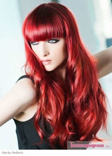Puffy-Waves-with-Blunt-Bangs-1 Best Hairstyles for Red Hair 2019