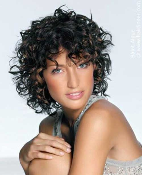Short-Bob-Haircut-for-Frizzy-Curly-Dark-Layered-Hair Short Haircuts For Curly Frizzy Hair