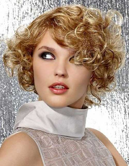 Short-Frizzy-Curly-Women's-Blonde-Hair-Idea Short Haircuts For Curly Frizzy Hair