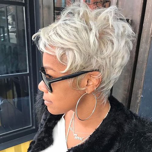 Silver-Pixie-Cut-for-Black-Women Best Sassy Pixie Cuts 2019