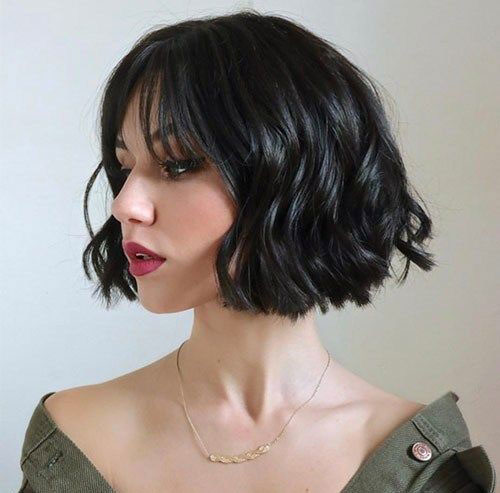 Thick-Wavy-Hair Most Pretty Short Wavy Hair with Bangs Ideas