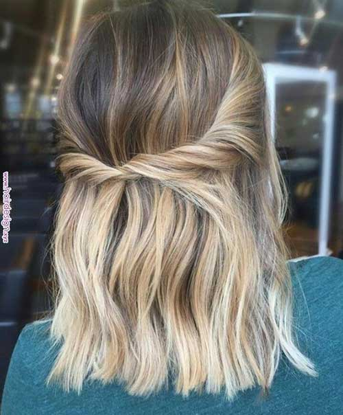 Twisted-Half-Up Easy Hairstyles for Short Wavy Hair with Best Ways