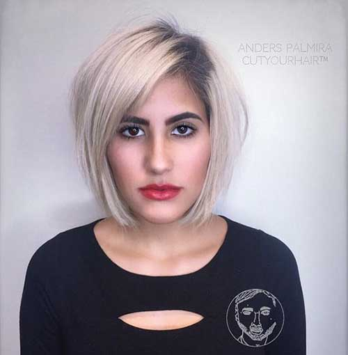 Blonde-Bob-with-Dark-Roots Short Thin Hairstyles to Easily be Feminine