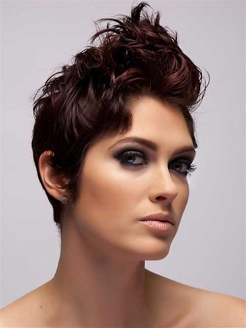 Dark-Red-Short-Pixie-Hairstyle Short Curly Pixie Haircuts