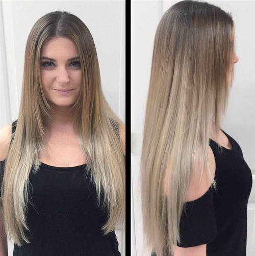 Dead-Straight-Dark-Blonde-and-Silver-Ombre Gorgeous Ways to Rock Blonde and Sliver Hair