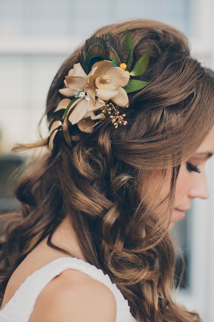 Gorgeous-Wedding-Hairstyle-With-Flower Simple But Beautiful Wedding Hairstyles 2019