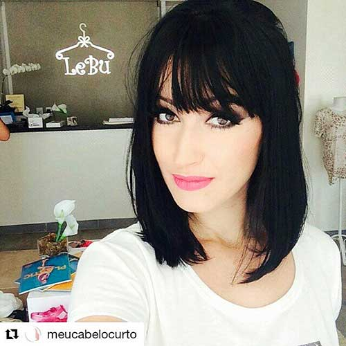 Long-Bob-and-Bangs Best Short Hairstyle Ideas for Oval Faces